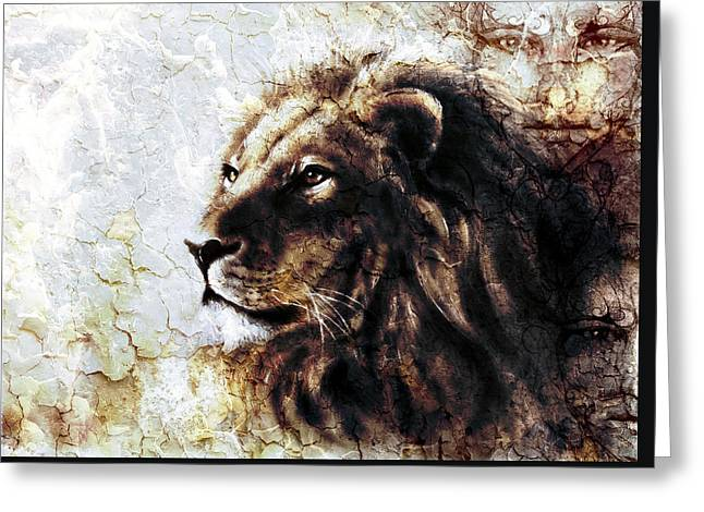 Royal Art Greeting Cards -  Beautiful  Painting Of A Lion Head And Mystic Faces With A Majesticaly Peaceful Expression Desert P Greeting Card by Jozef Klopacka