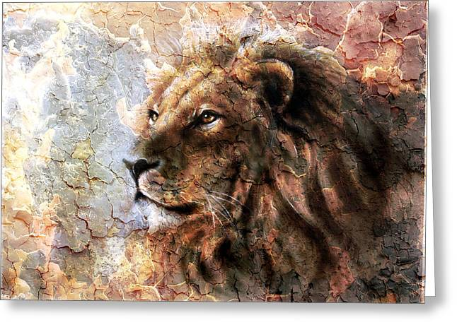 Royal Art Greeting Cards -  Beautiful  Painting Of A Lion Head With A Majesticaly Peaceful Expression Desert Pattern Greeting Card by Jozef Klopacka