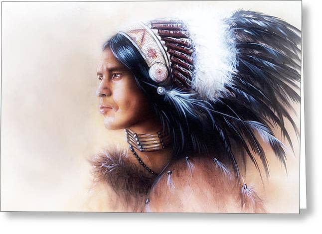 Beautiful Painting Of A Young Indian Warrior Wearing A Gorgeous Feather Headdress Profile Portrait Greeting Card by Jozef Klopacka