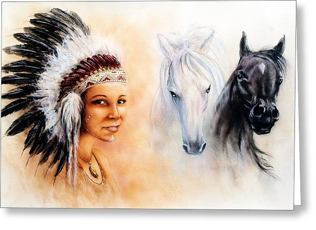 Native American Spirit Portrait Greeting Cards -  Beautiful  Painting Of A Young Indian Woman Wearing A Gorgeous Feather Headdress  Greeting Card by Jozef Klopacka