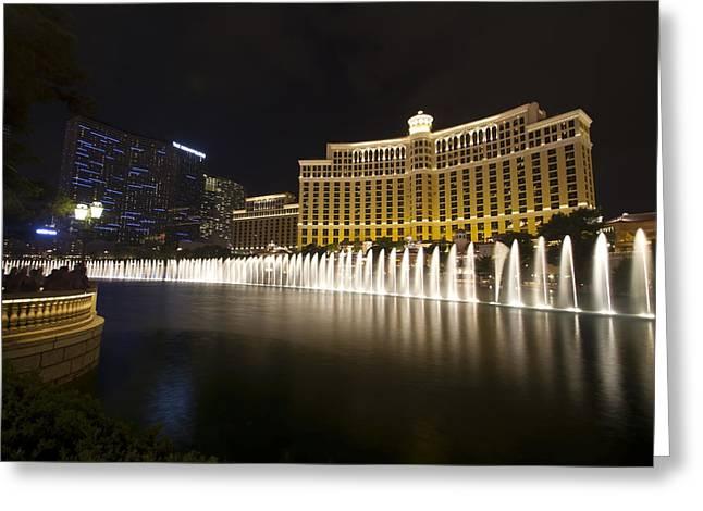 Bellagio Greeting Cards -  Bellagio Fountain in Las Vegas at night Greeting Card by Sven Brogren