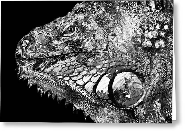 Fun And Games Greeting Cards -  Black And White Iguana Art - One Cool Dude 2 - Sharon Cummings Greeting Card by Sharon Cummings