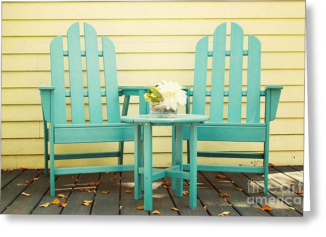 Adirondack Greeting Cards -  Blue Adirondack Chairs  Greeting Card by Juli Scalzi