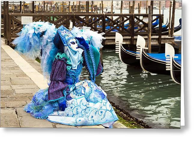 Beaded Gloves Greeting Cards -  Blue Angel 2015 Carnevale di Venezia Italia Greeting Card by Sally Rockefeller