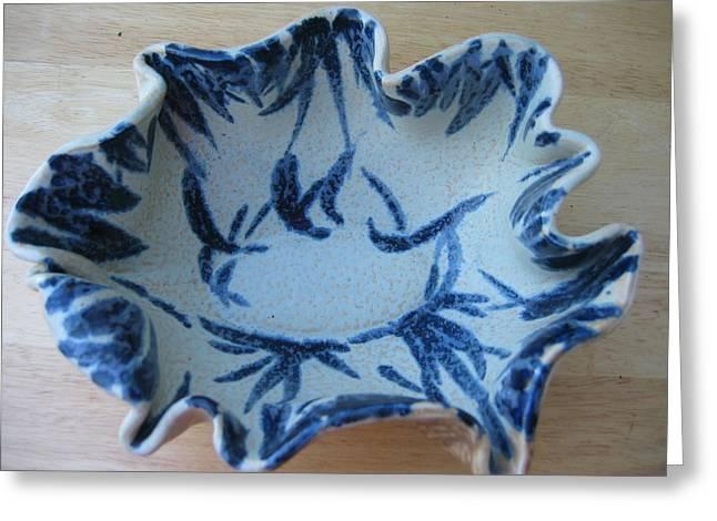 Blue Leafy Bowl Greeting Card by Julia Van Dine