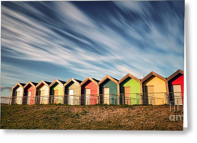 Blyth Greeting Cards -  Blyth Beach Huts Greeting Card by Ray Pritchard