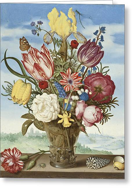 Dragon Fly Greeting Cards -  Bouquet of Flowers on a Ledge Greeting Card by Ambrosius the Elder Bosschaert