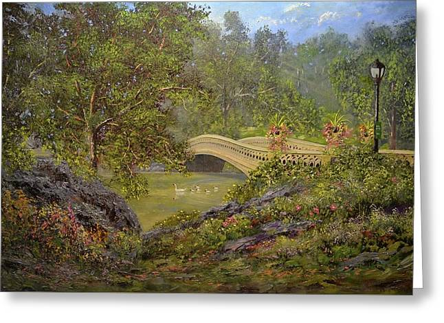 Bow Bridge Central Park Greeting Card by Michael Mrozik