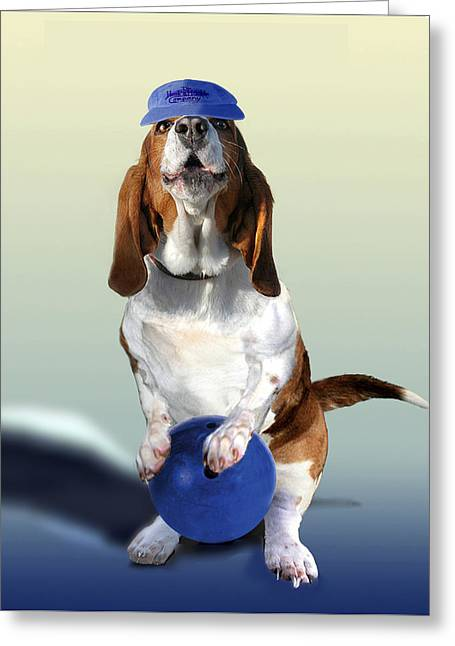 Basset Hound Prints Greeting Cards -  Bowling Hound Greeting Card by Gina Femrite