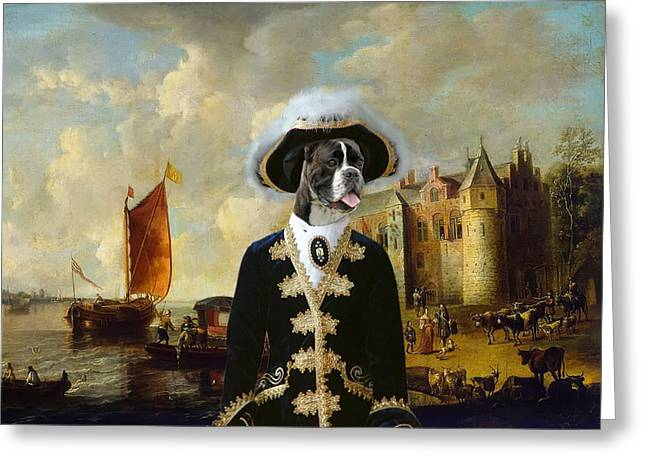 Boxer Dog Art Print Greeting Cards -  Boxer Art Canvas Print - For King and Queen Greeting Card by Sandra Sij