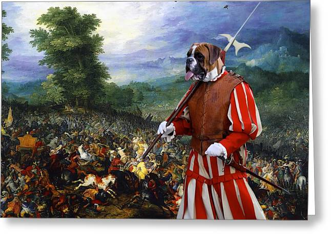 Boxer Dog Art Print Greeting Cards -  Boxer Art Canvas Print - Gathering before the battle Greeting Card by Sandra Sij