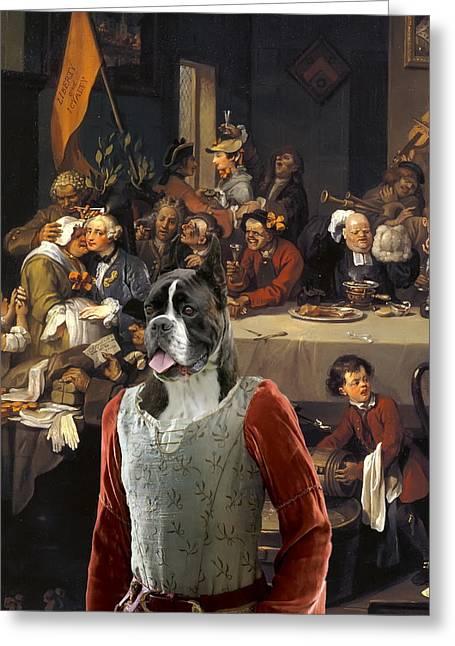 Boxer Dog Art Print Greeting Cards -  Boxer Art Canvas Print - The Banquet Greeting Card by Sandra Sij