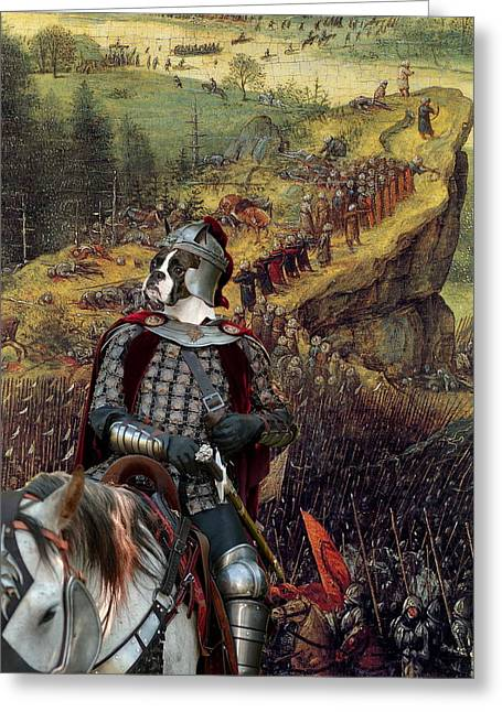 Boxer Dog Art Print Greeting Cards -  Boxer Art Canvas Print - The Suicide of Saul Greeting Card by Sandra Sij
