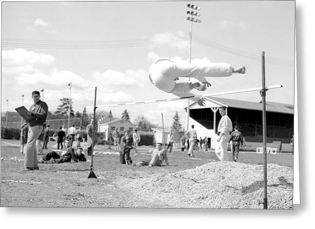 Youth Sports Bar Greeting Cards -  Boy Going Over High Jump Bar 1957 Black White Greeting Card by Mark Goebel