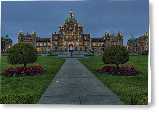 British Columbia Parliament Buildings Greeting Card by Mark Kiver