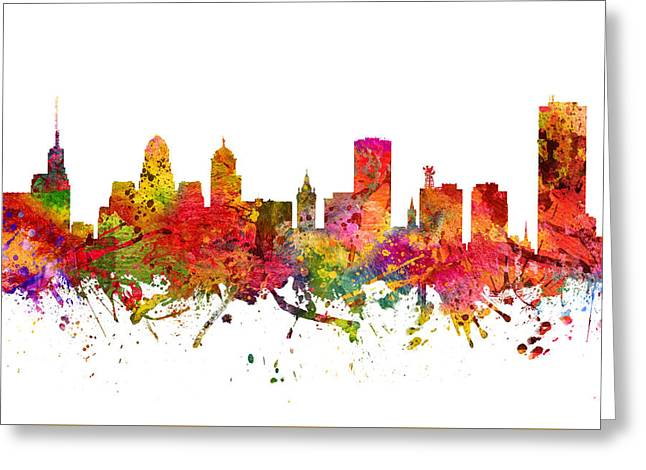 Buffalo Greeting Cards -  Buffalo Cityscape 08 Greeting Card by Aged Pixel