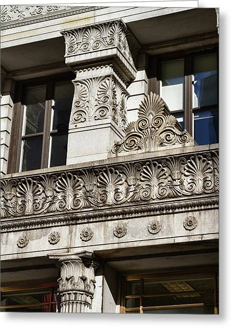 Black Russian Studio Greeting Cards -  Building Detail at Bowling Green Greeting Card by Val Black Russian Tourchin