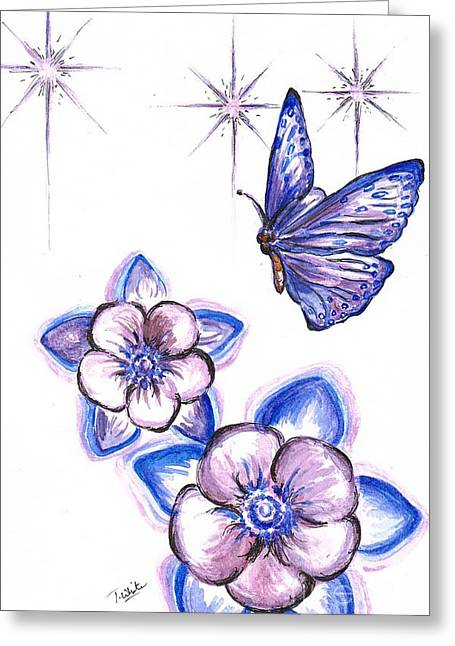 Hovering Drawings Greeting Cards -  Butterfly Amongst The Flowers Greeting Card by Teresa White