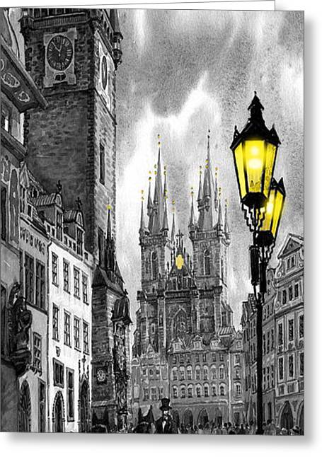 Bw Greeting Cards -  BW Prague Old Town Squere Greeting Card by Yuriy  Shevchuk