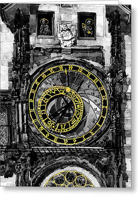 Bw Prague The Horologue At Oldtownhall Greeting Card by Yuriy  Shevchuk