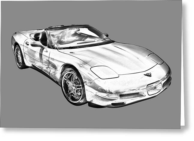 C5 Corvette Convertible Muscle Car Illustration Greeting Card by Keith Webber Jr