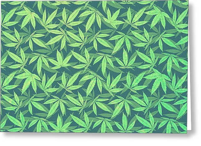 Cannabis   Hemp  420   Marijuana  Pattern Greeting Card by Philipp Rietz