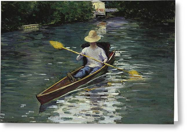 Canoe On The Yerres River Greeting Card by Gustave Caillebotte