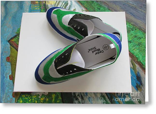 Shoe Tapestries - Textiles Greeting Cards -  Canvas Shoe Art - 005a Greeting Card by Mudiama Kammoh