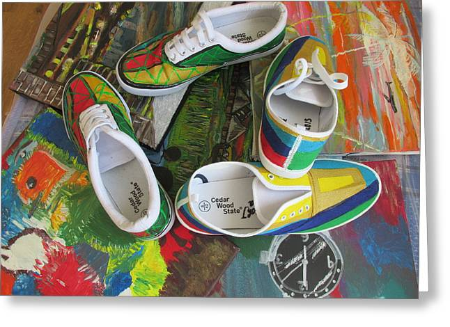 Shoe Tapestries - Textiles Greeting Cards -  Canvas Shoe Art - 007  Greeting Card by Mudiama Kammoh