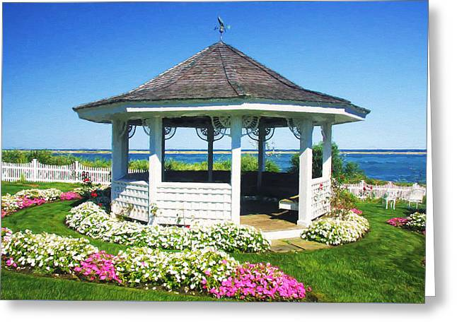 Lawn Chair Greeting Cards -  Cape Cod Gazebo In Summertime Greeting Card by Daphne Sampson