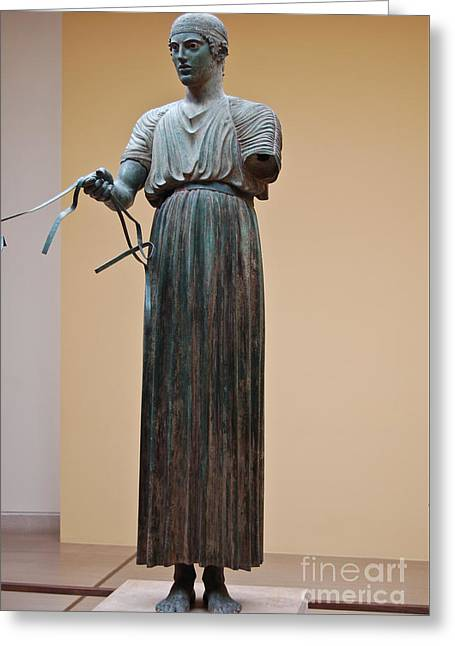 Greek Sculpture Greeting Cards -  Charioteer of Delphi Greeting Card by Beth Wolff