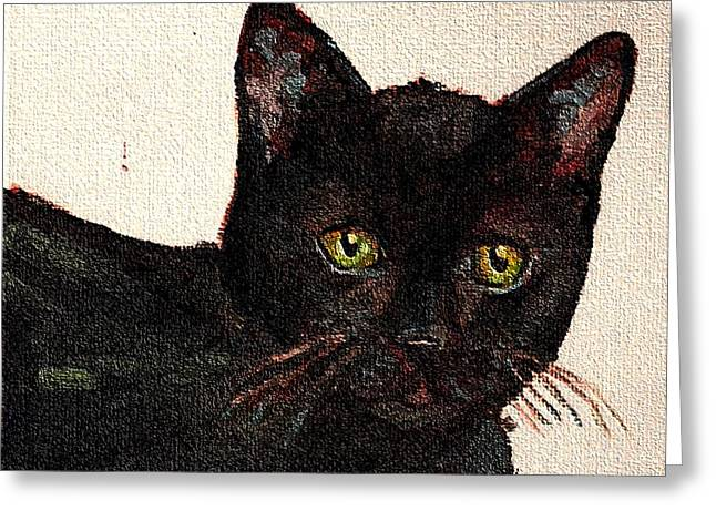 Chat Noir Portrait Black Bombay Cat  No. 2 Greeting Card by Cecely Bloom