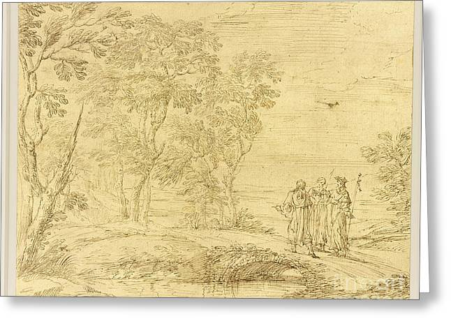 Road To Emmaus Greeting Cards -  Christ and the disciples on the road to Emmaus Greeting Card by Pier Francesco Cittadini