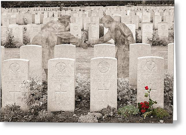 Wwi Greeting Cards -  Christmas truce remembered Greeting Card by Rob Lester Wirral