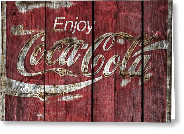 Vintage Coca Cola Sign Greeting Cards -  Coca Cola Sign Barn Wood Greeting Card by John Stephens