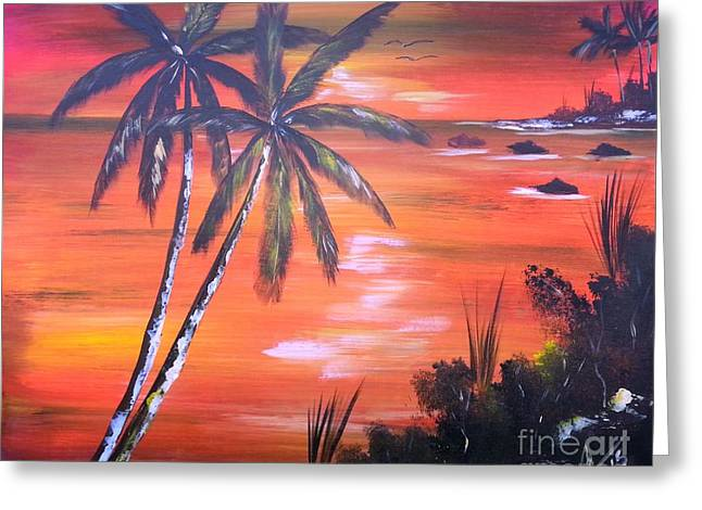 Jamaican Sunset Greeting Cards -  Coconut Palms  Sunset Greeting Card by Collin A Clarke