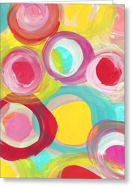 Colorful Sun Circles Vertical Greeting Card by Amy Vangsgard
