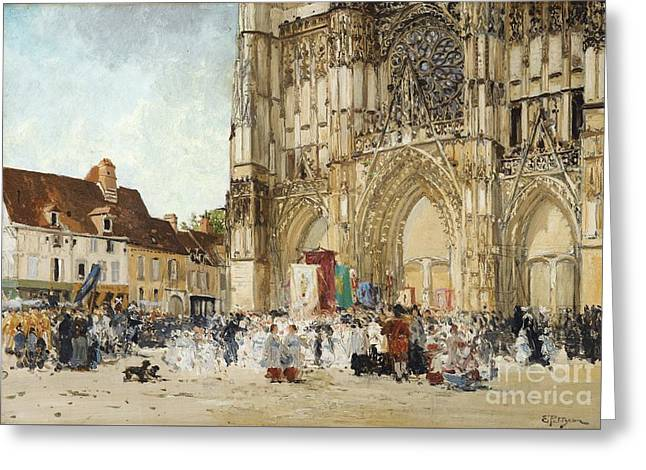 The Church Greeting Cards -  Communicants Coming Out Of The Church Greeting Card by Edmond-marie Petitjean