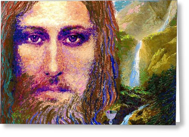 Biblical Greeting Card featuring the painting  Contemporary Jesus Painting, Chalice Of Life by Jane Small