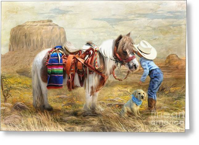 Cut Puppy Greeting Cards -  Cowboy Up Greeting Card by Trudi Simmonds