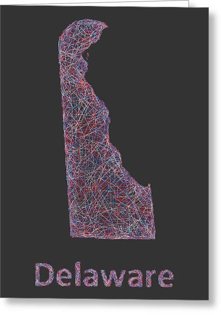 Multicolor Greeting Cards -  Delaware map Greeting Card by David Zydd