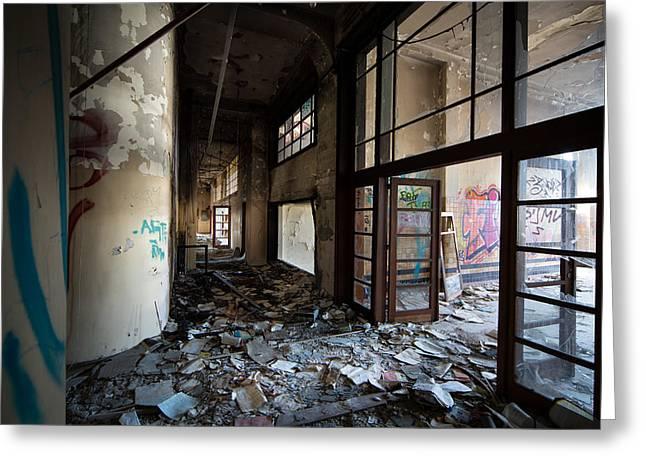 Chateau Greeting Cards -  Demolished school building- Urban decay Greeting Card by Dirk Ercken
