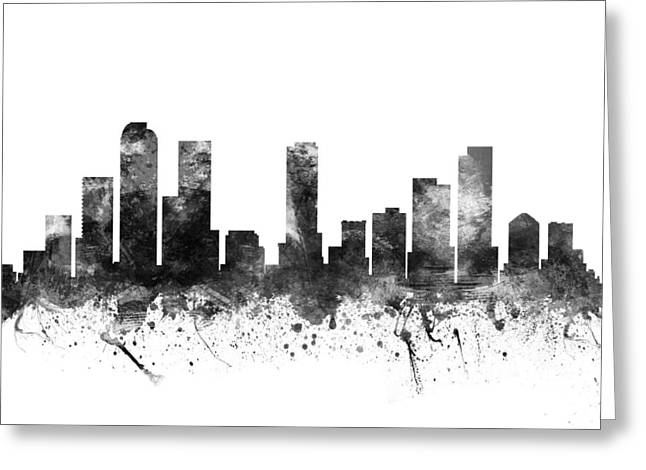 Denver Colorado Greeting Cards -  Denver Colorado Cityscape 02BW Greeting Card by Aged Pixel