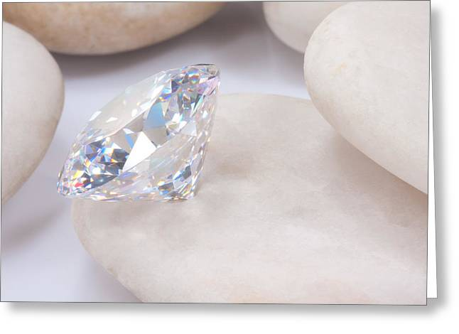 Treasures Jewelry Greeting Cards -  Diamond On White Stone Greeting Card by Atiketta Sangasaeng