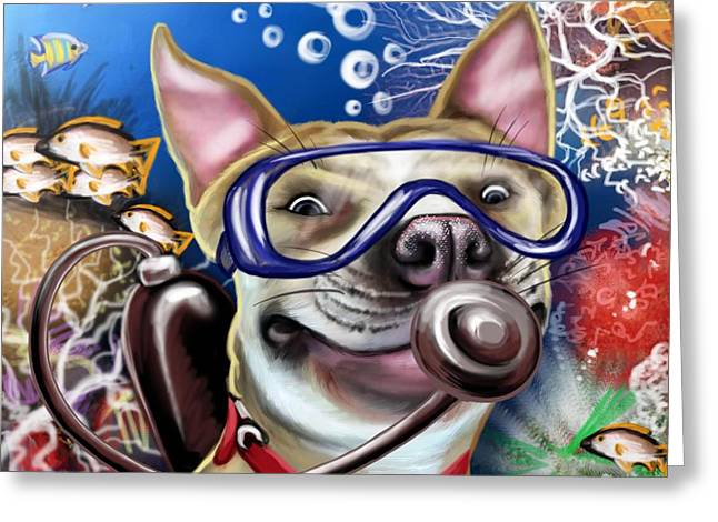 Puppies Digital Greeting Cards -  Diver Pub Dog Greeting Card by Photolamus OU