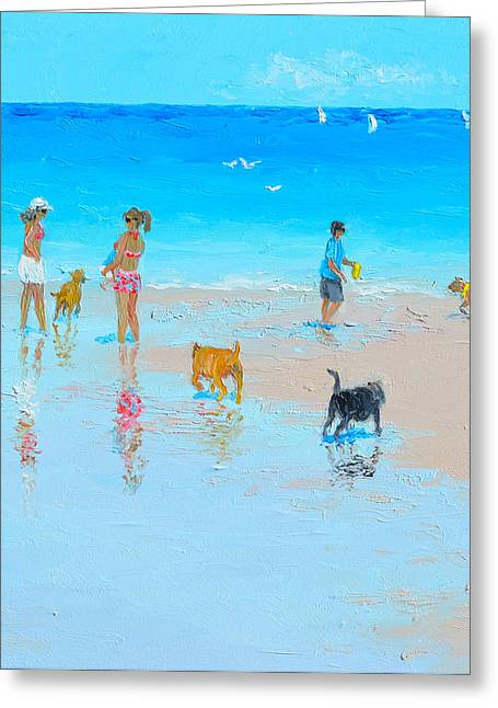 Ocean Art. Beach Decor Greeting Cards -  Dog Beach Day Greeting Card by Jan Matson