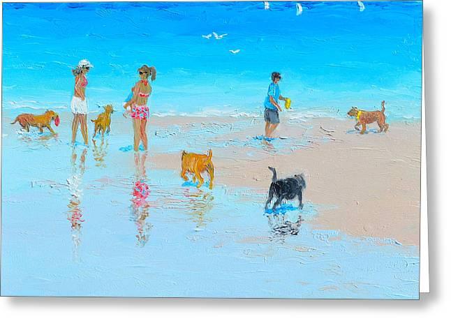 Summer Scene Greeting Cards -  Dog Beach Day Greeting Card by Jan Matson