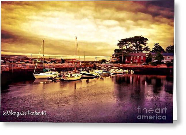 Down At The Dock Greeting Card by MaryLee Parker