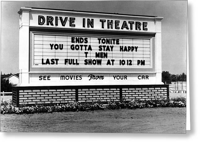 1950s Movies Greeting Cards -  Drive In Theatre Marquee Circa 1950 Black White Greeting Card by Mark Goebel