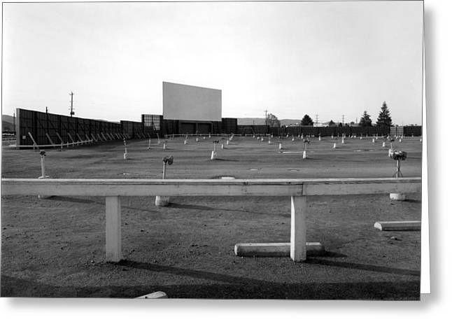 1950s Movies Greeting Cards -  Drivein Theater Parking Lot 1960s Black White Greeting Card by Mark Goebel